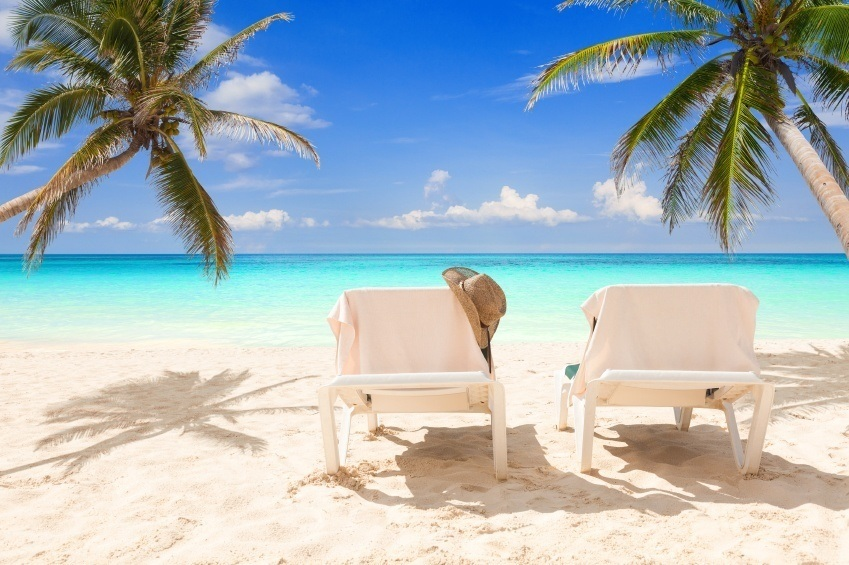 caribbean beach resort chairs hat palm trees ocean