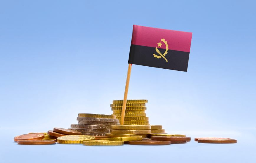 angola flag pile coins currency money machete