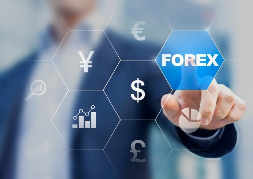 forex man pointing screen currency