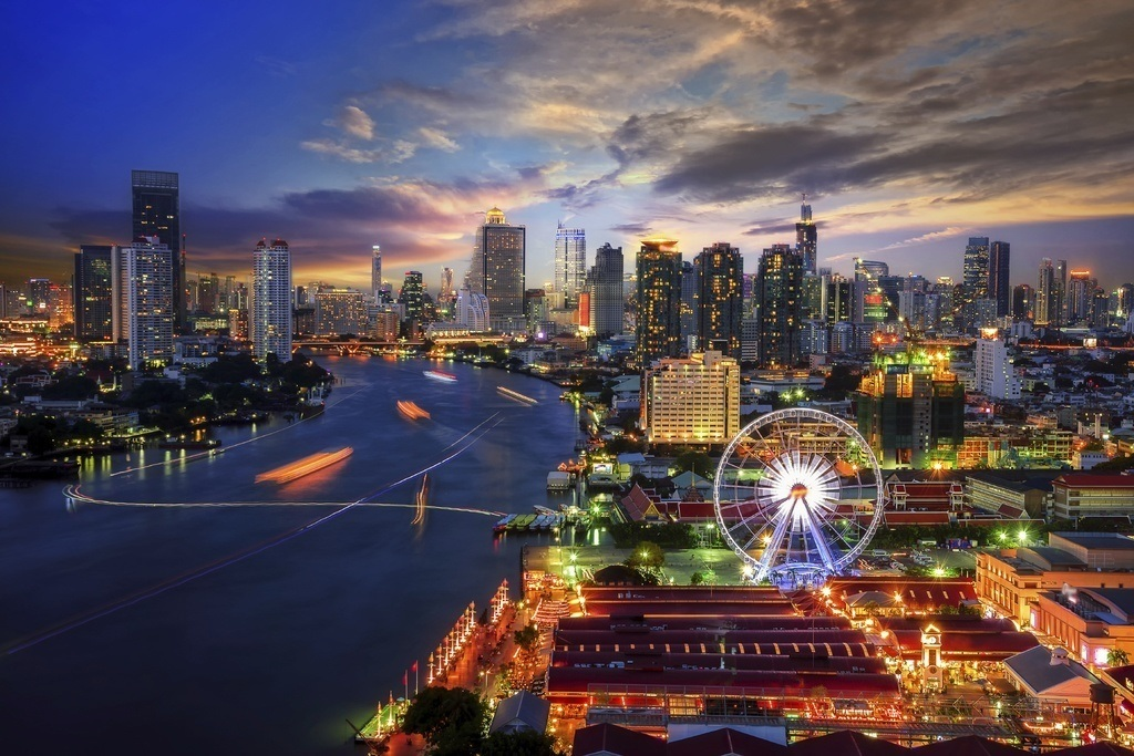 city thailand bangkok river night lights ferris wheel cityscape