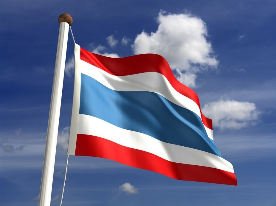 thailand flag waving pole red white blue