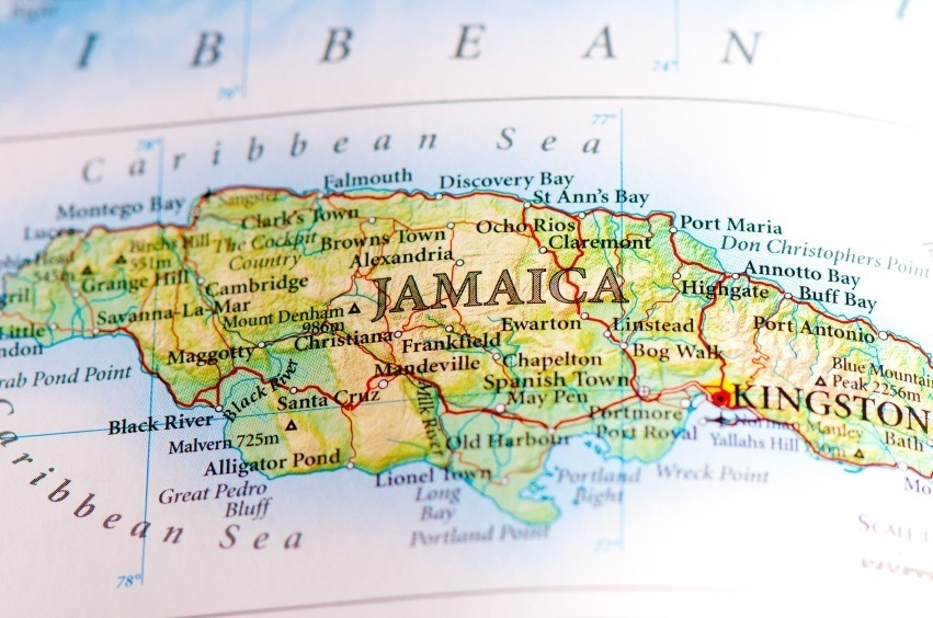 jamaica map caribbean sea island