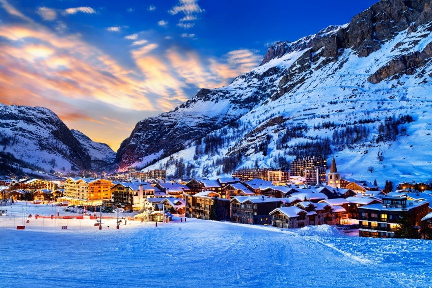 tignes ski resort night lights sky france town mountain