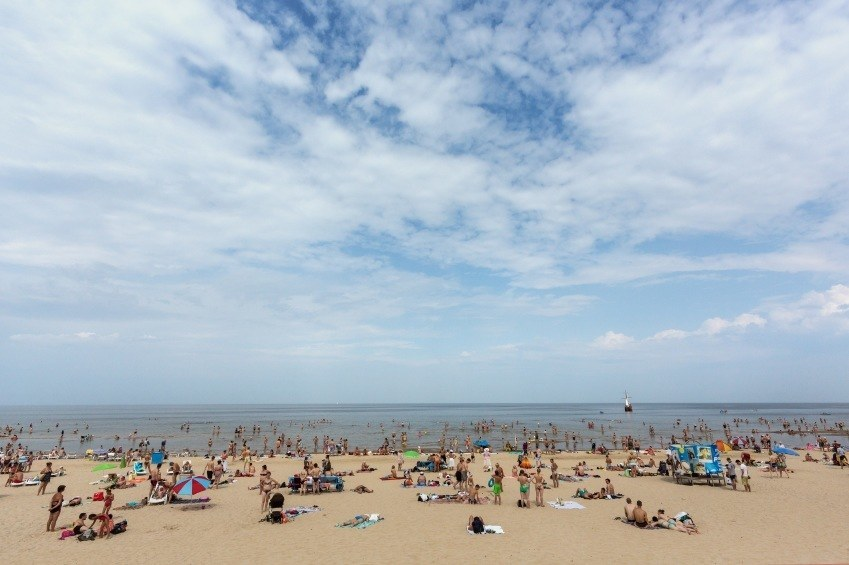 jurmala beach latvia people crowd summer sun