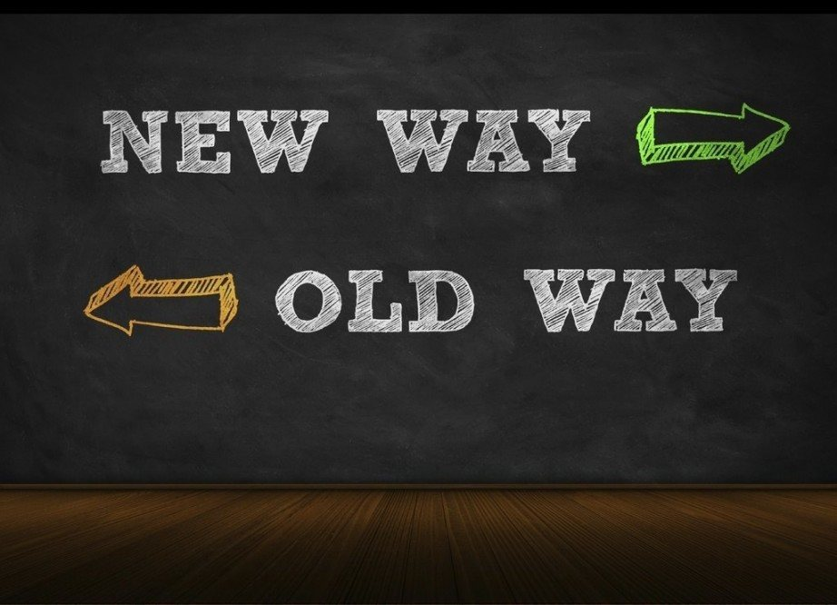 new direction way sign forward back