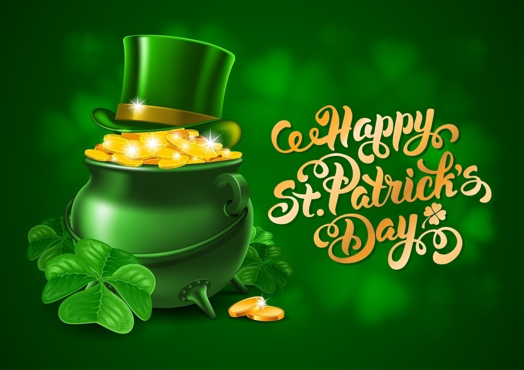 saint patrick's day pot gold leprechaun green ireland