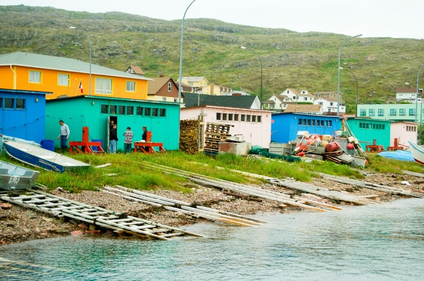saint pierre miquelon fishing houses coast ocean huts