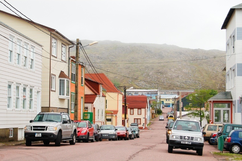 saint pierre miquelon street cars cloudy town