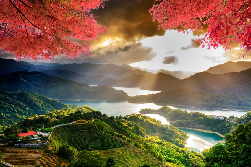 landscape hills mountains taiwan lake tree red