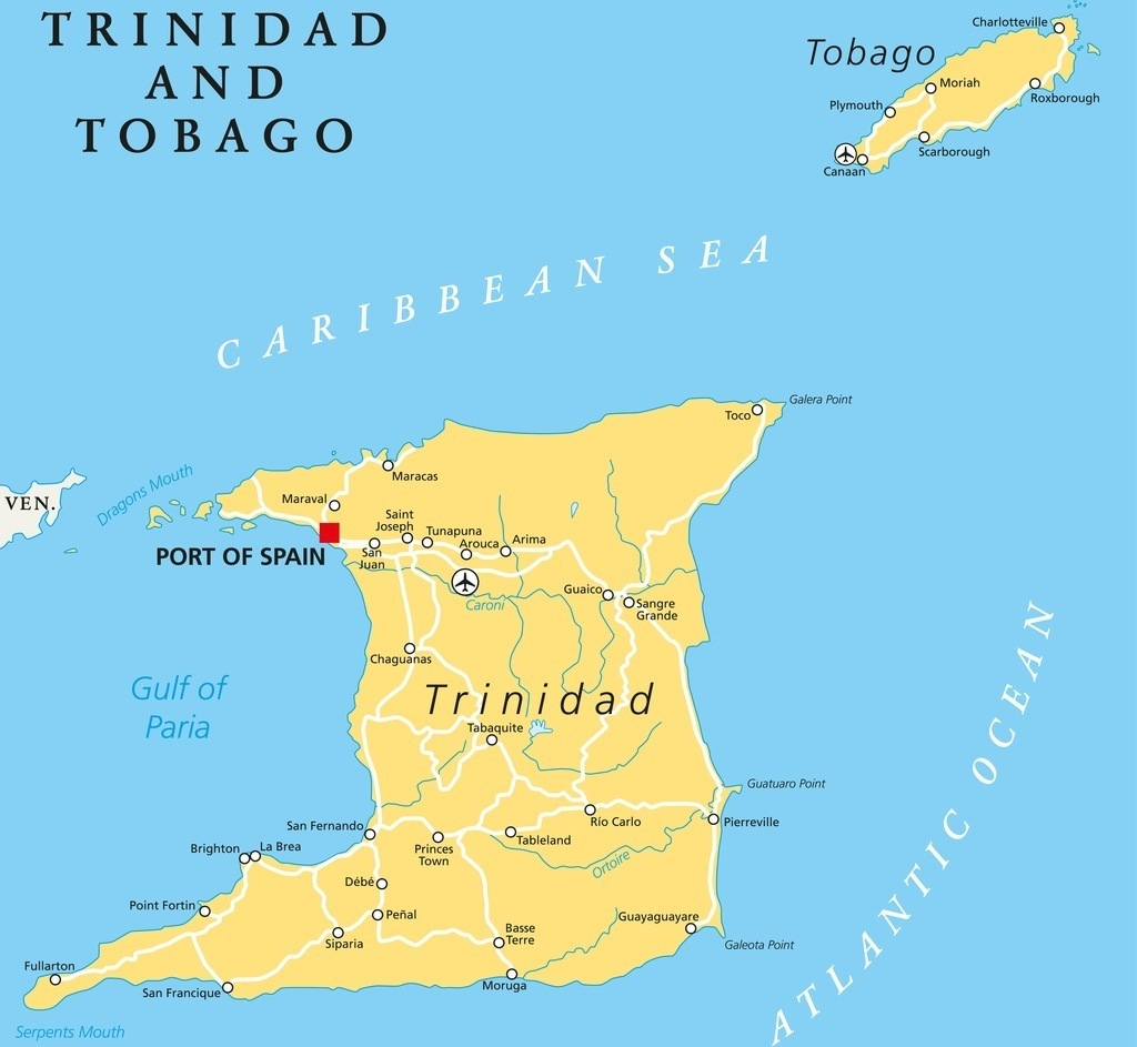 trinidad tobago map caribbean west indies