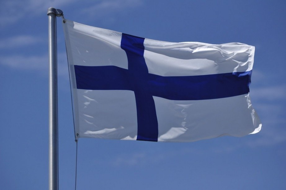 finland flag nordic cross blue white waving pole