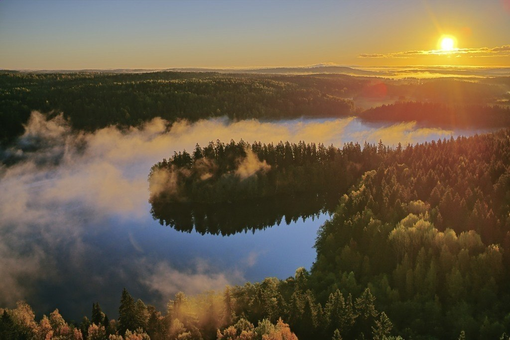 lake finland sunset forest wild nature rural