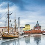visit finland helsinki dock boat sails harbor city winter