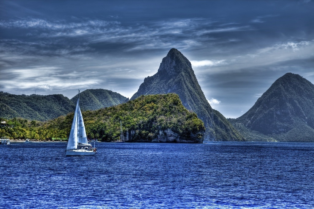 coastline pitons saint lucia sailboat mountains