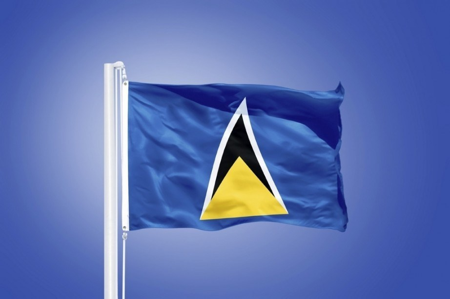 saint lucia flag blue yellow back white
