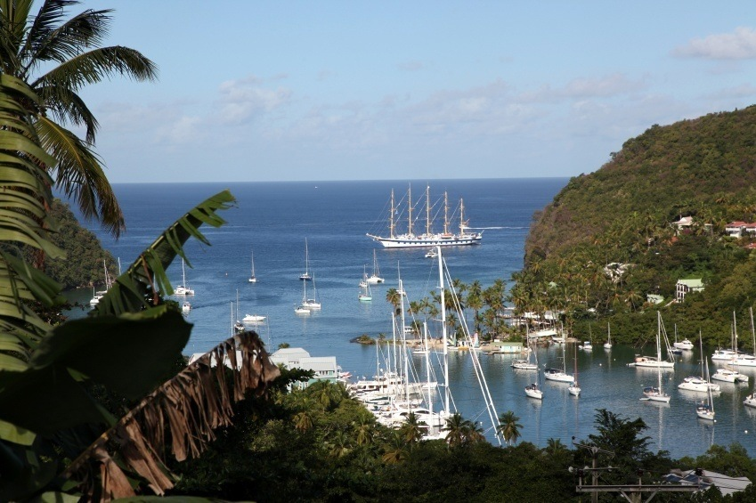 marigot bay harbor boats yachts caribbean sea town