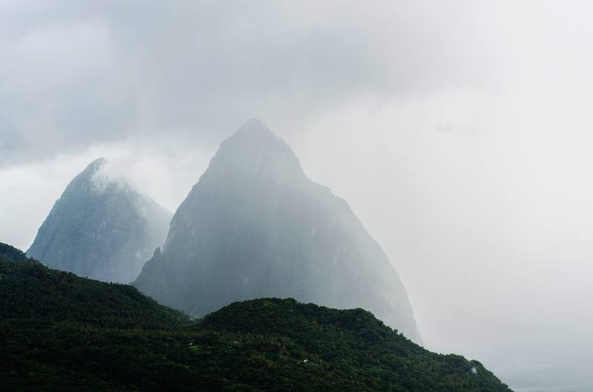 pitons mist mountains volcano caribbean saint lucia fog clouds