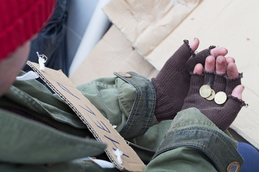 beggar homeless change loose gloves fingerless alms