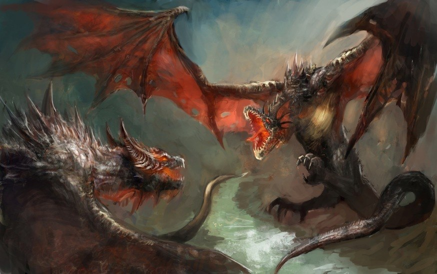 game of thrones seven kingdoms art song of ice and fire dragons fighting