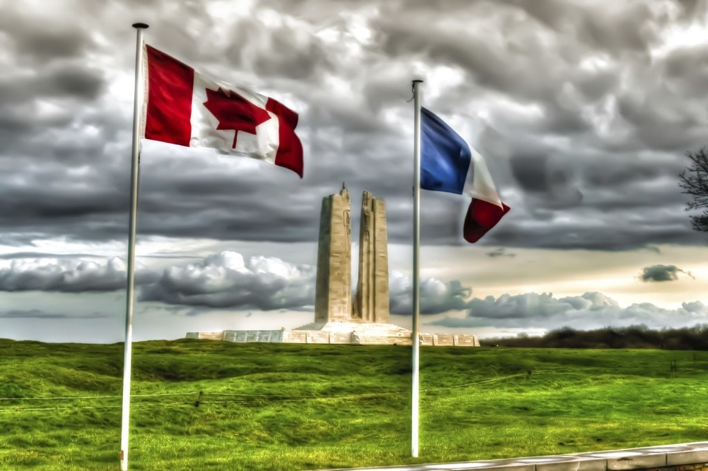 vimy ridge flags canada france clouds memorial war