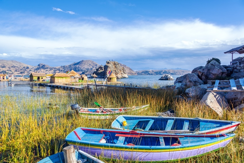 titicaca lake boats houses village bolivia