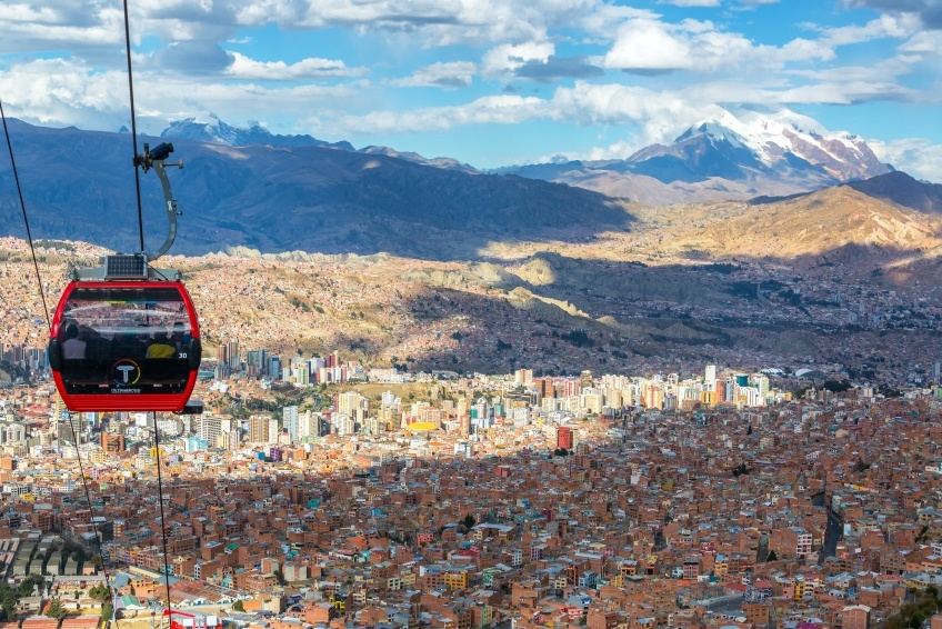 la paz bolivia cities cable car gondola mountains alpine cityscape