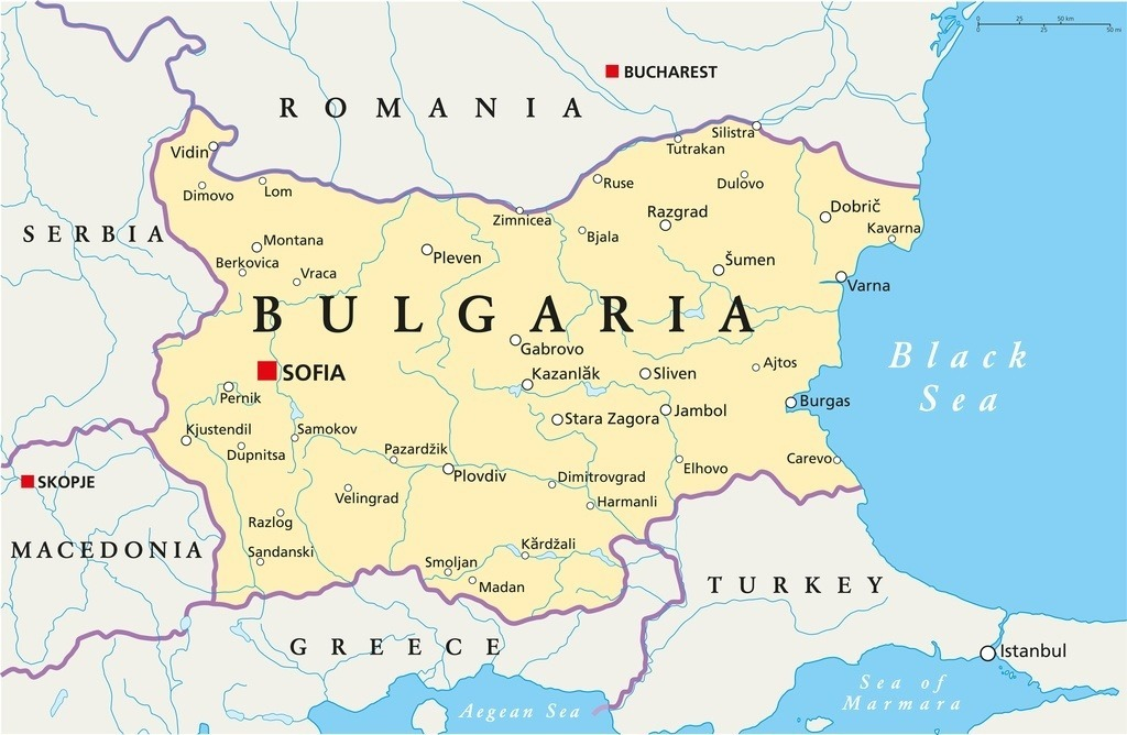 bulgaria map southeastern europe black sea political cities towns country