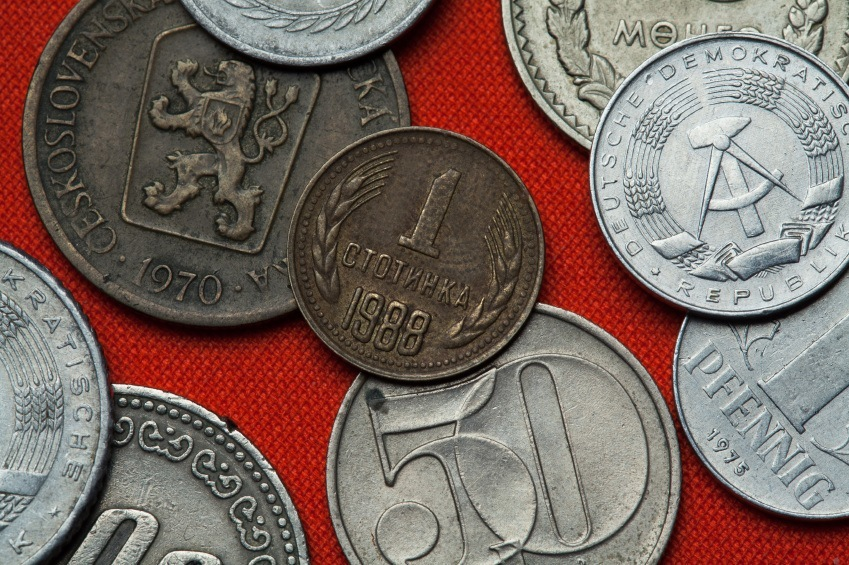 bulgarian lev coins pile money