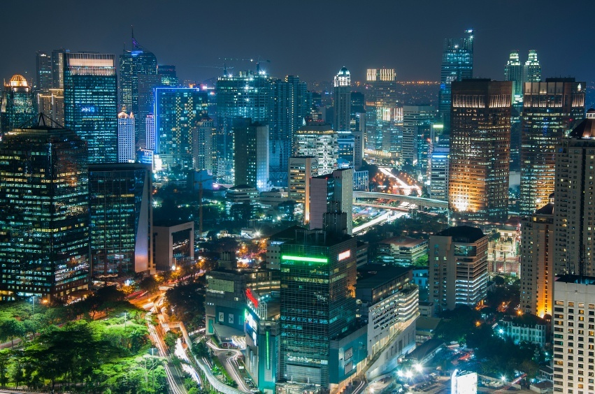 jakarta indonesia night city cityscape urban lights skyscrapers downtown