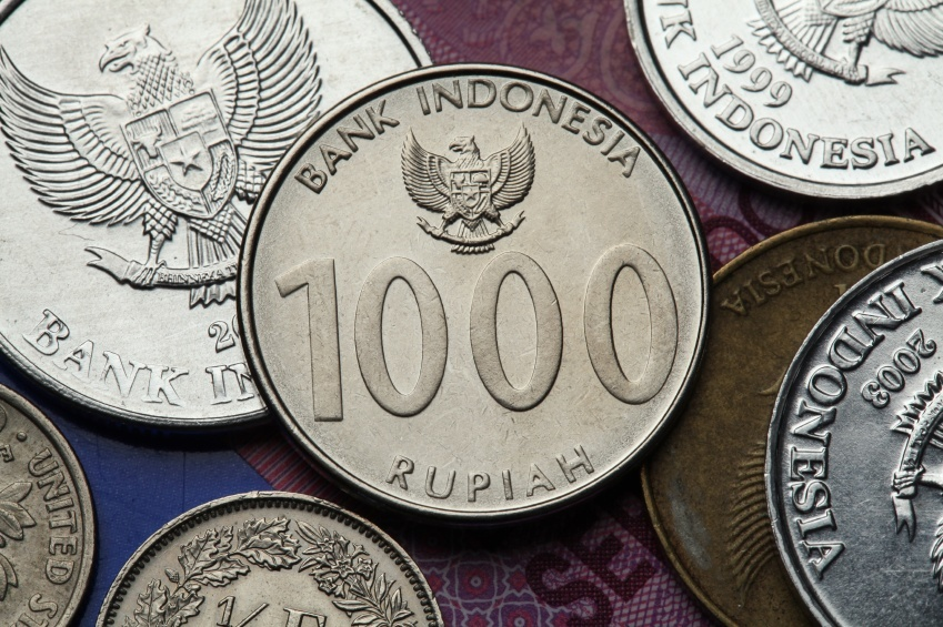 indonesian rupiah coins 1000 pile reverse