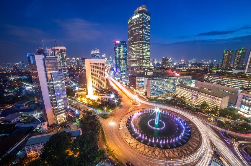 jakarta city night time lapse lights indonesia buildings