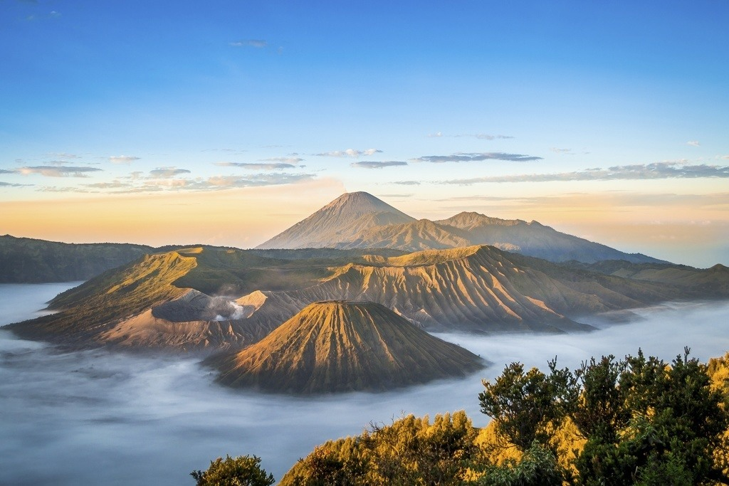 volcanos mount bromo indonesia mist landscape mountains