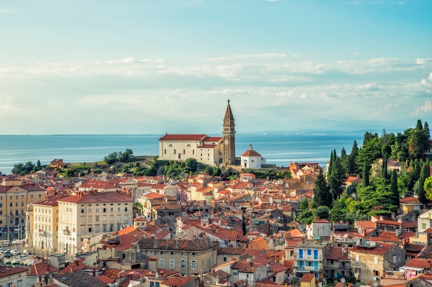 piran adriatic sea coast slovenia city venetian architecture steeple