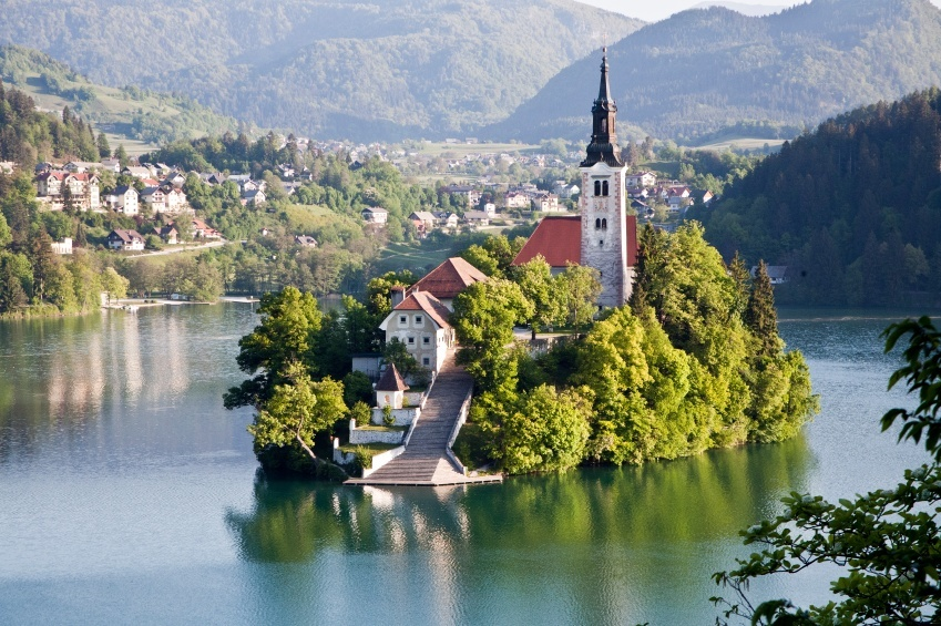 lake bled church steps island slovenia town mountains
