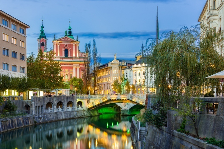 city capital ljubljana canal architecture classical