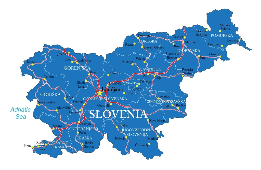 slovenia map country blue on white cities