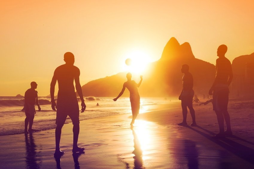 soccer beach rio brazil juggling sunset football south america copa