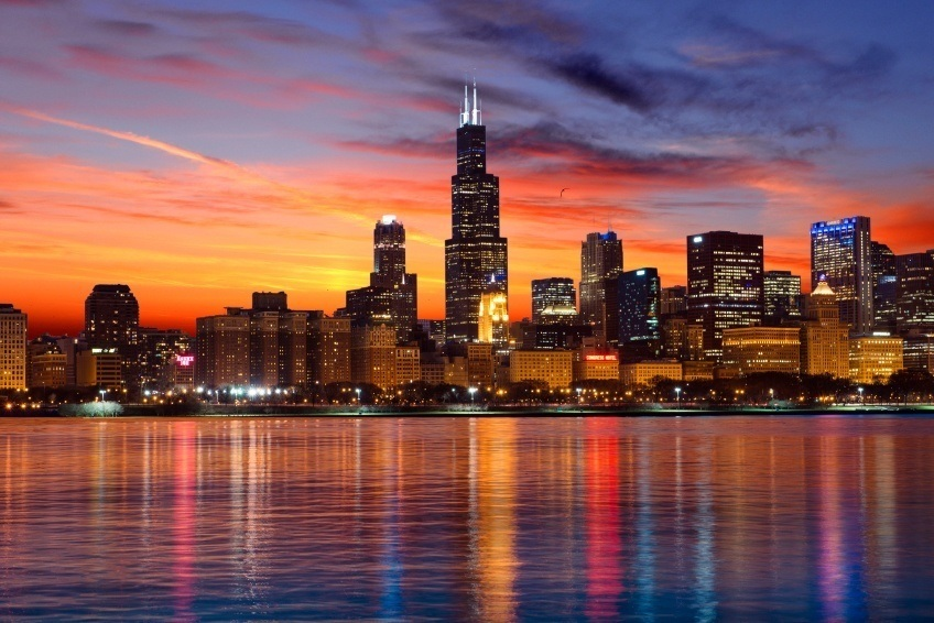 chicago skyline copa america sears tower willis night sunset
