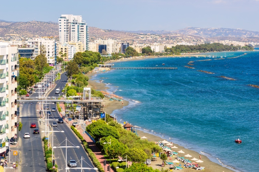 limassol beach waterfront road cyprus city tourist sea