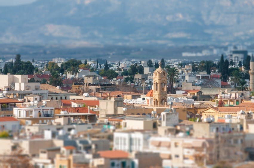 nicosia cyprus cityscape church mountains capital