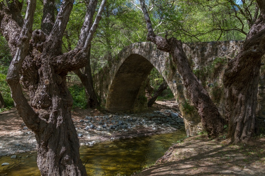 troodos mountains bridge traditional old medieval cyprus forest woods