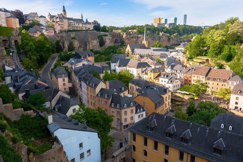 luxembourg city view fortress buildings sunny day
