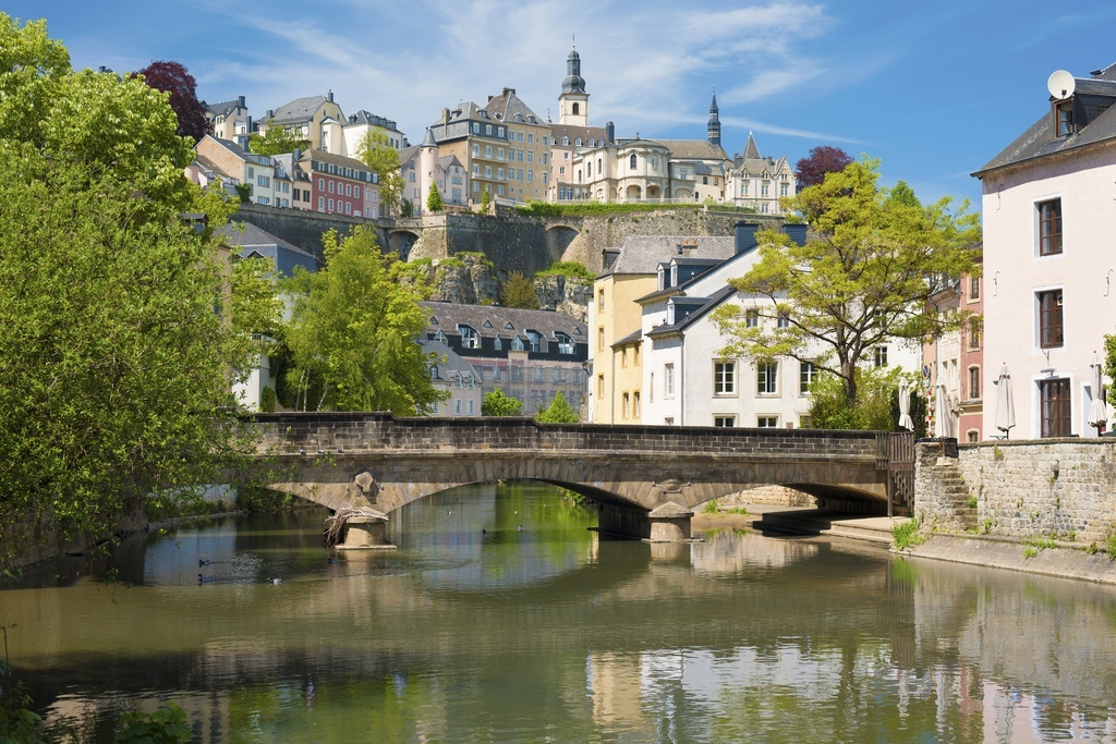 luxembourg city river bridge