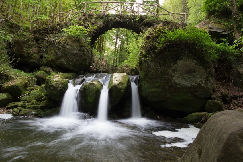 mullerthall bridge waterfall forest woods stream nature wild luxembourg