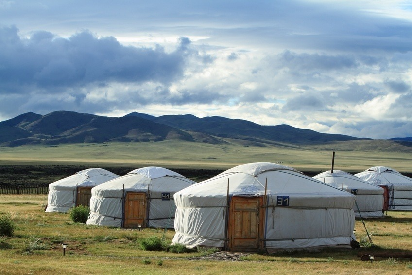 mongolia ger yurt camp central steppe hills grass