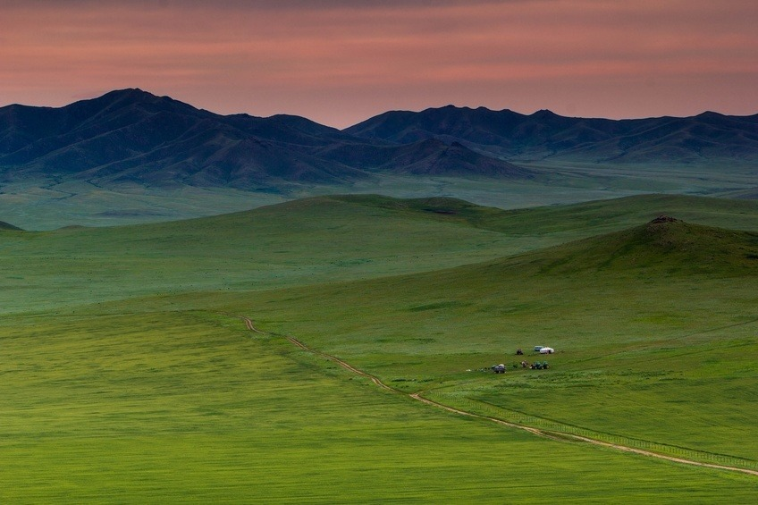 east mongolia steppe hill evening twilight sunset