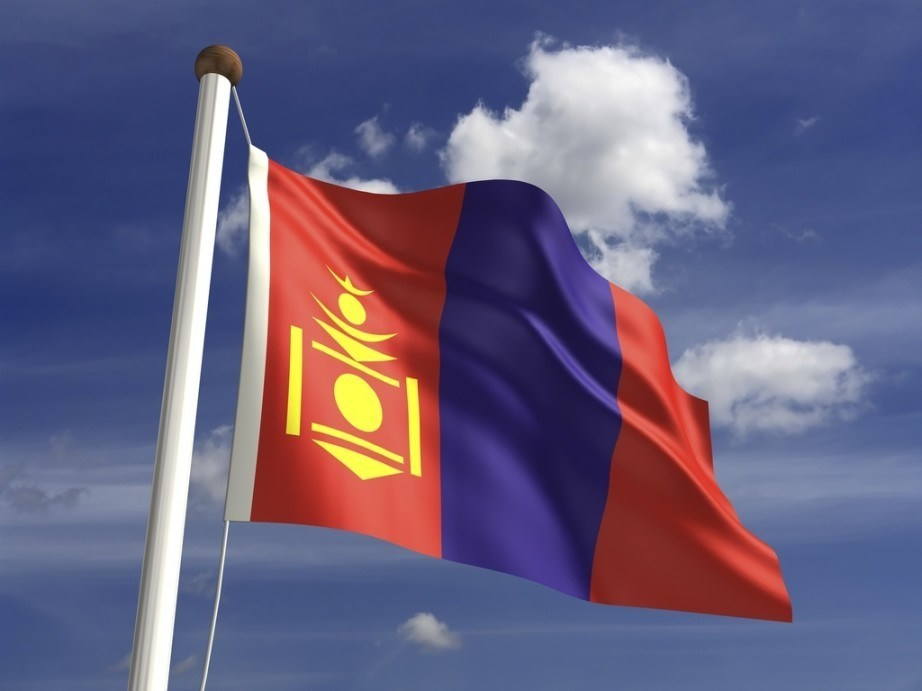 mongolia flag red blue yellow crest