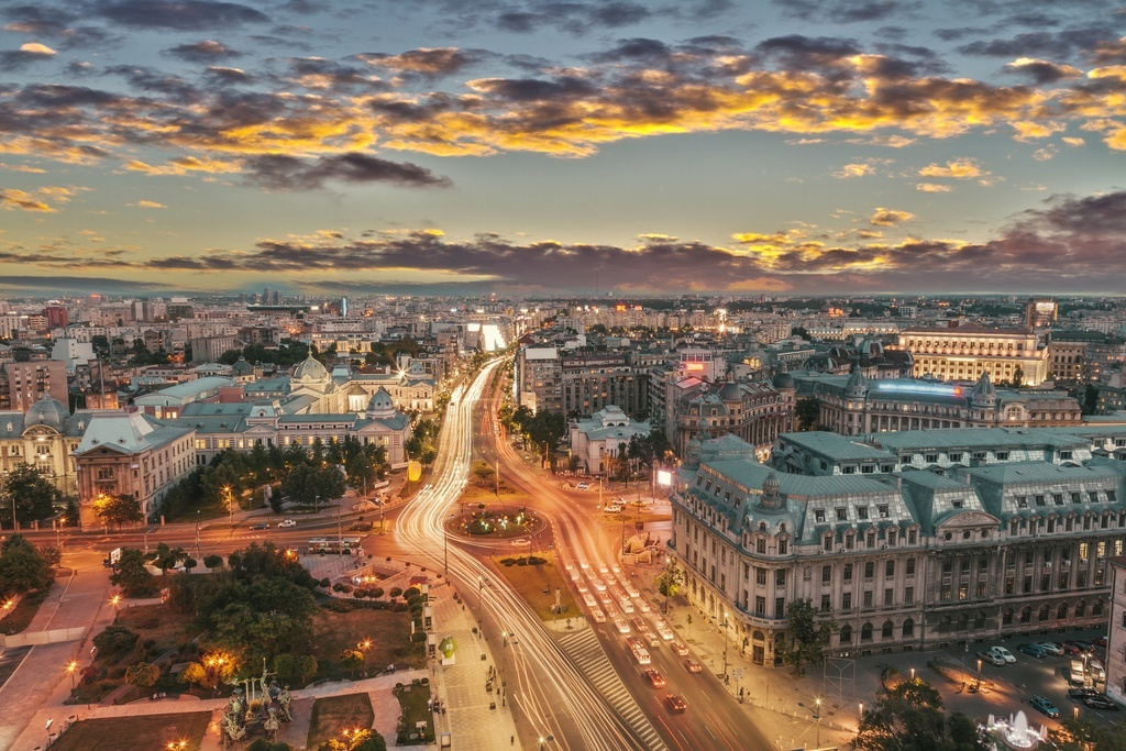 bucharest romania city cityscape lights dusk EU romania