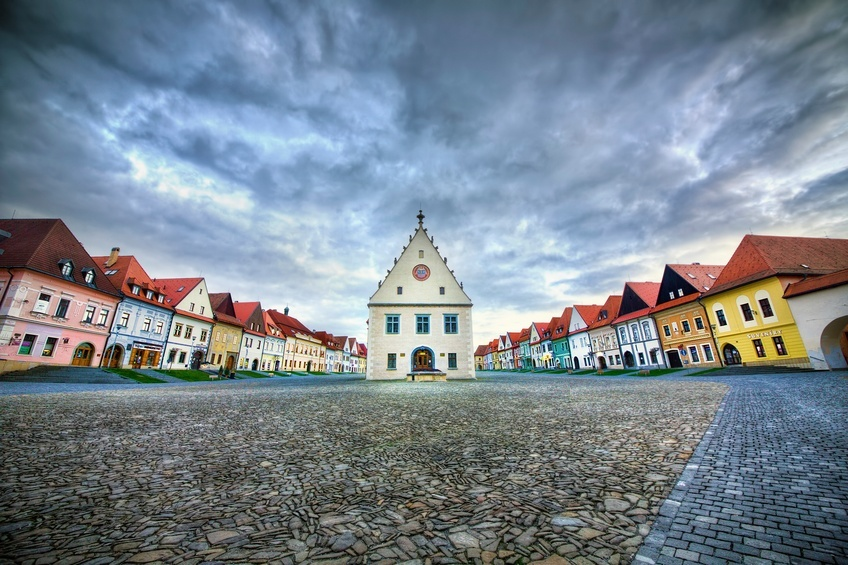 slovakia bardejov church square old town burgher houses clouds