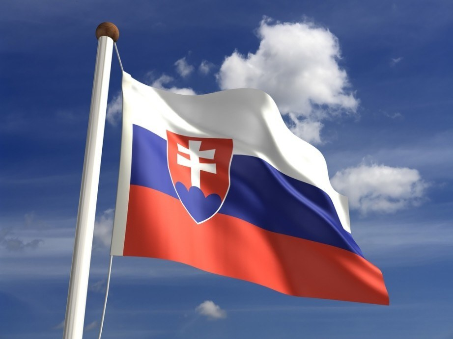 slovakia flag red white blue crest sky cloud